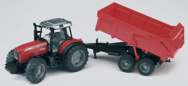 MF 7480 with tipping trailer 1:16