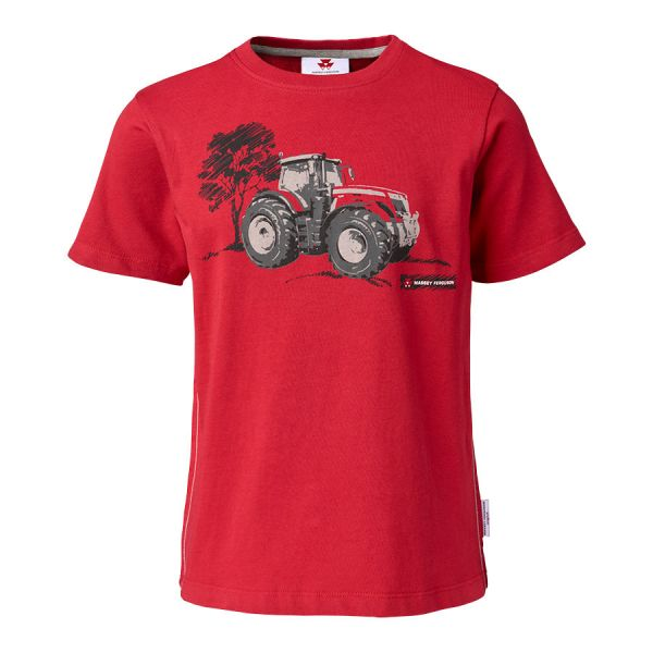 KIDS' RED T-SHIRT WITH TRACTOR PRINT